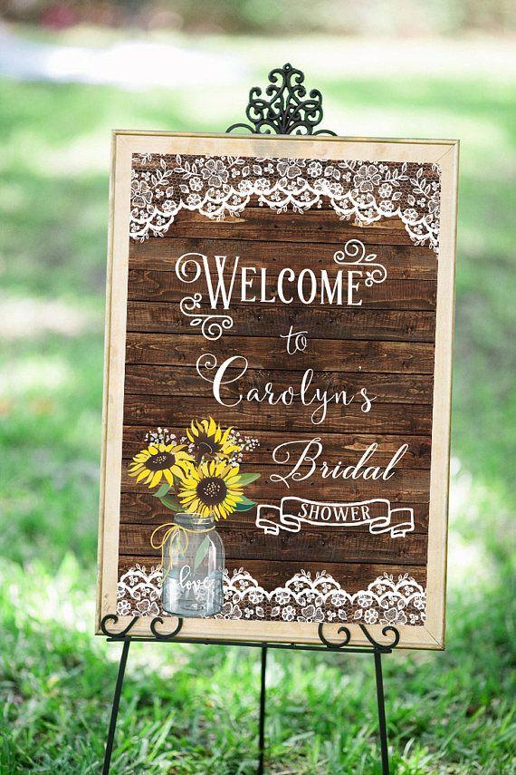 Sunflower Bridal Shower SIgn Sunflower Wedding Welcome Sign