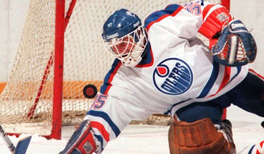 Andy Moog in the net during his time with the Edmonton Oilers wearing a Cooper HM30 mask cage combo. #cooper #hm30 #edmonton #oilers #andy #moog #goalie #vintage #nhl
