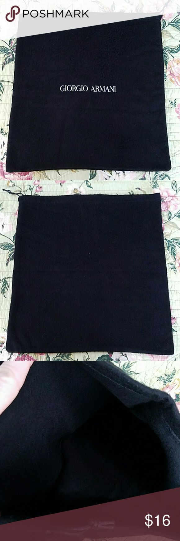 """Giorgio Armani Dust Bag Authentic Giorgio Armani Dust Bag. Measurements Approximately 13 1/2"""" W x 13 1/2"""" H not Including Drawstring Area. Excellent Condition. Giorgio Armani Bags Cosmetic Bags & Cases"""