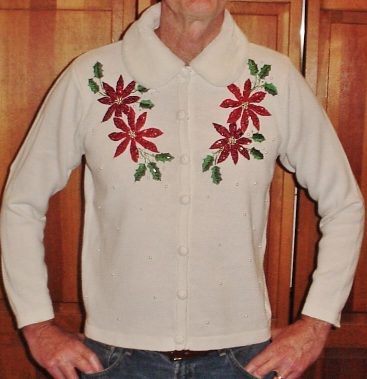 GLY! Mens M Ladies L CHRISTMAS Poinsettia Sweater w/Faux Fur Collar, Ivory #BasicEditions #Cardigan
