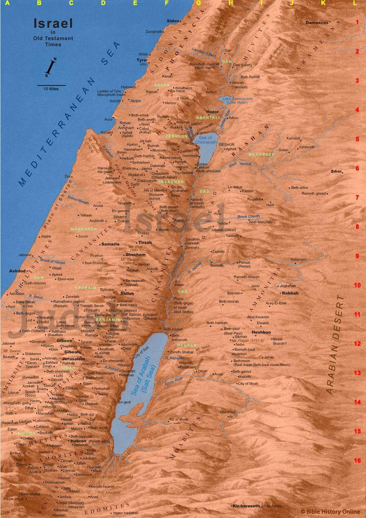 Map of Old Testament Israel - very detailed  including  Ramath-mizpeh south Gad Ammonites Mizpah and Ramah in mid Benjamin, Gibeon  Lehi near Beth-Shemesh in Judah, Jerusalem Ekron in Judah west Amalekites Gilgal near Ashdod Dan oceanside, Kanah Brook