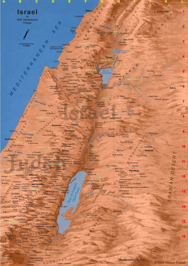 Map of Old Testament Israel - very detailed including ...
