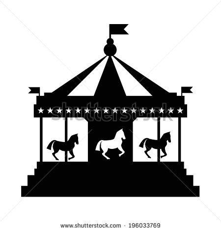 Vintage merry-go-round. Carousel vector  silhouette - stock vector
