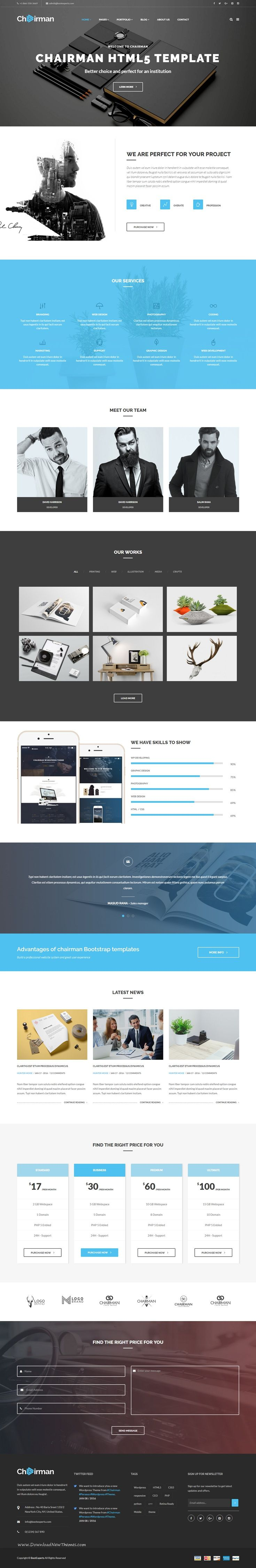 Chairman Multipurpose Bootstrap HTML5 Template is a responsive, clean and modern designed corporate website template.