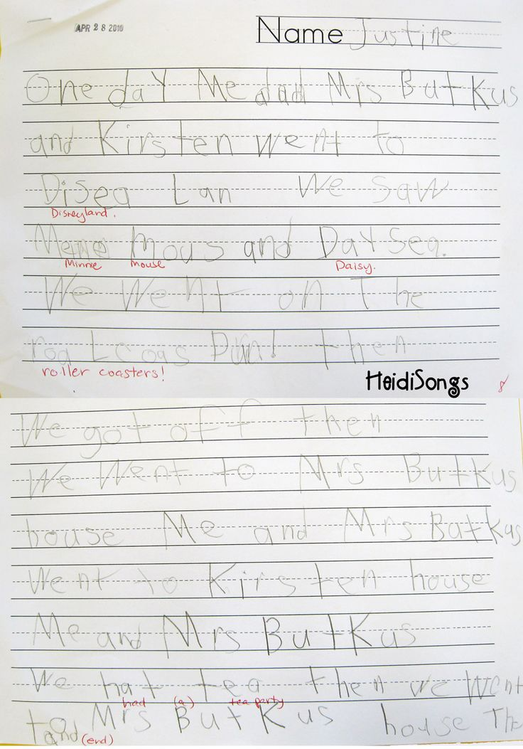 Here is an example of a kindergarten child's Transitional Spelling writing paper. This was done in a testing situation with no help at all and the word wall covered up. Notice how the child was able to spell many words with silent letters correctly on her own.