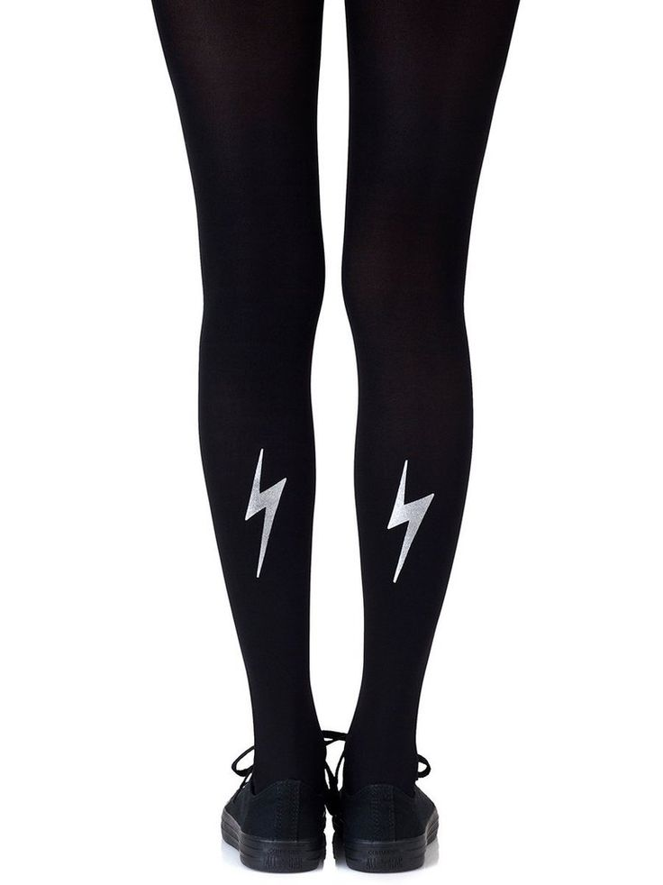 Electric Feel Silver Tights #Black #Graphic #Metallic