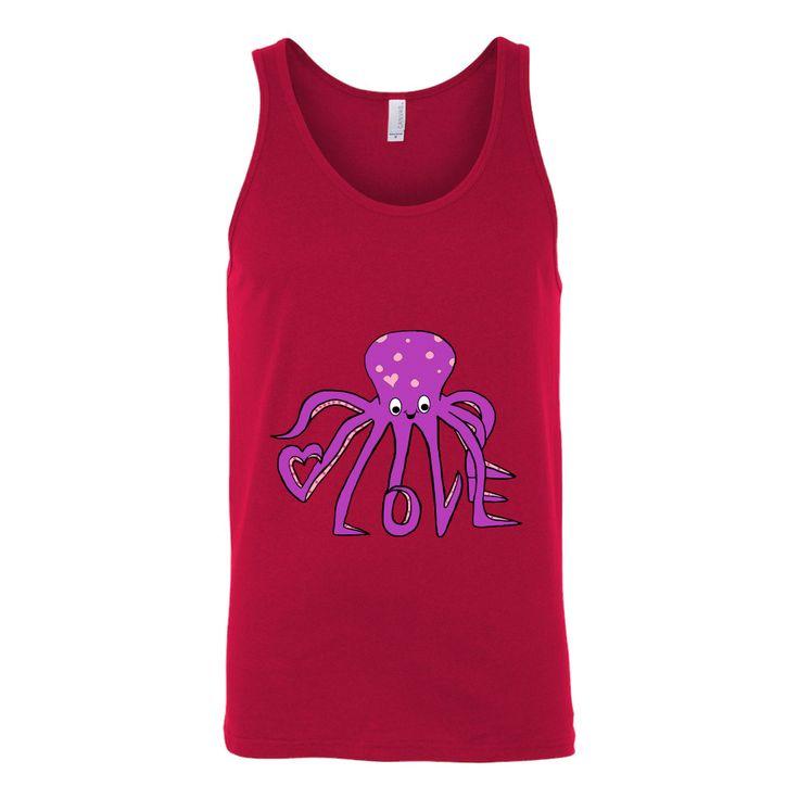 Unisex Love Octopus Tank Top