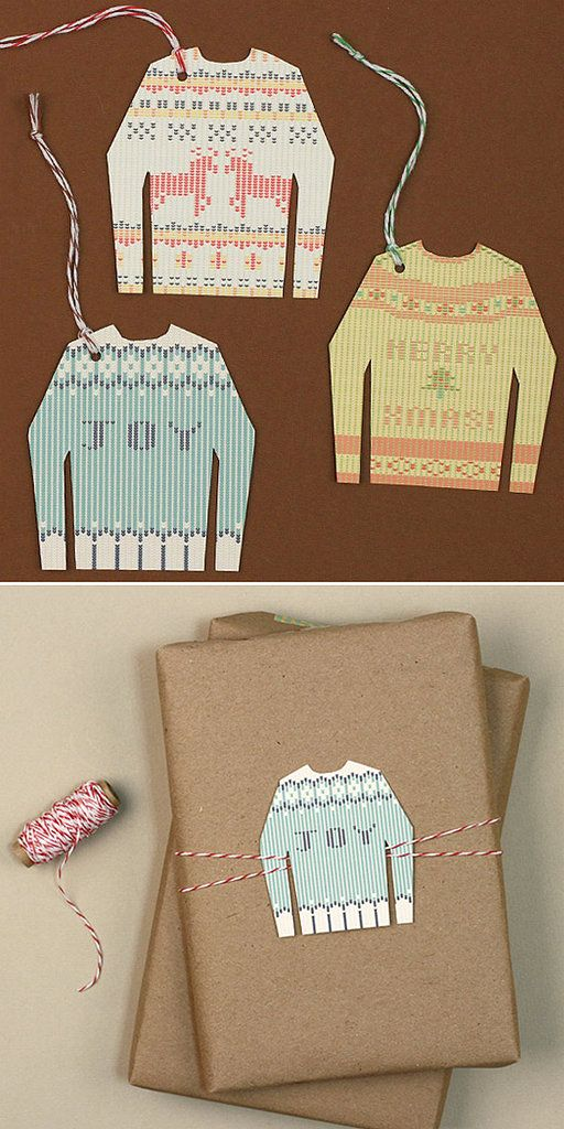 Print out these free ugly sweater gift tag printables, then cut them out to stick on your presents.