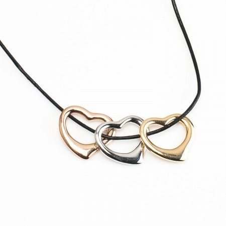 Trio of Hearts Pendant @ CherryTin.com  Three hearts come together to form a pendant in three shades - yellow, white & pink gold.