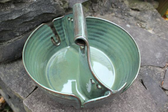 Yarn Bowl, Double Yarn Bowl, Double Yarn Bowl Green, Yarn Basket, Yarn Caryall