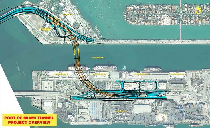 Mapa del Túnel del Puerto de Miami