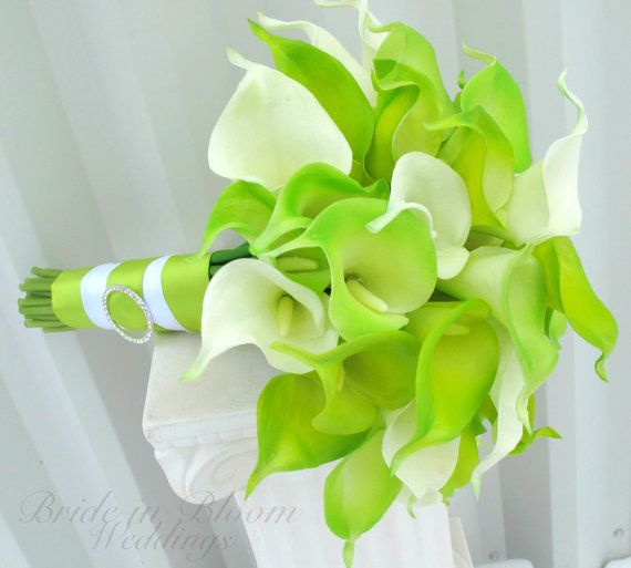 Brides bouquet Lime green real touch calla by BrideinBloomWeddings