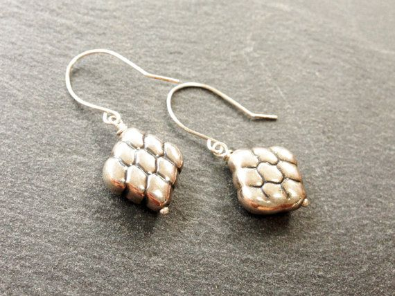 Minimalist Earrings Sterling Silver puffed by AliraTreasures