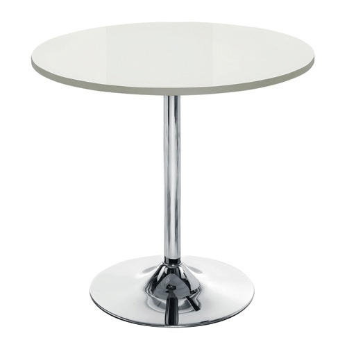 Ellipse High Gloss White Cafe Table With Chrome Trumpet Base
