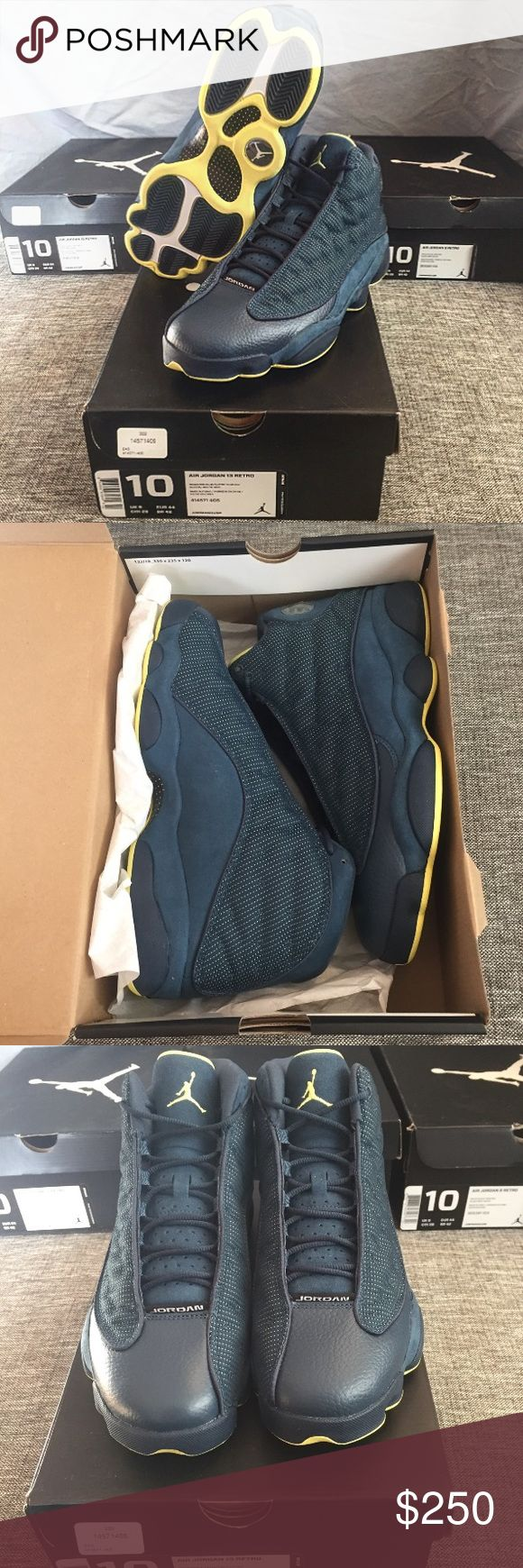 Nike Jordan XIII 13 Squadron Shoes, Size 10 Authentic men's Nike Jordan XIII 13 Squadron shoes in blue with neon yellow. Never worn. Size 10. Box included. Jordan Shoes Sneakers