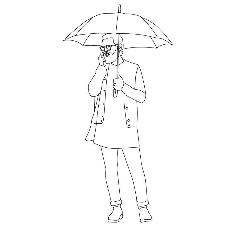 Man standing with umbrella