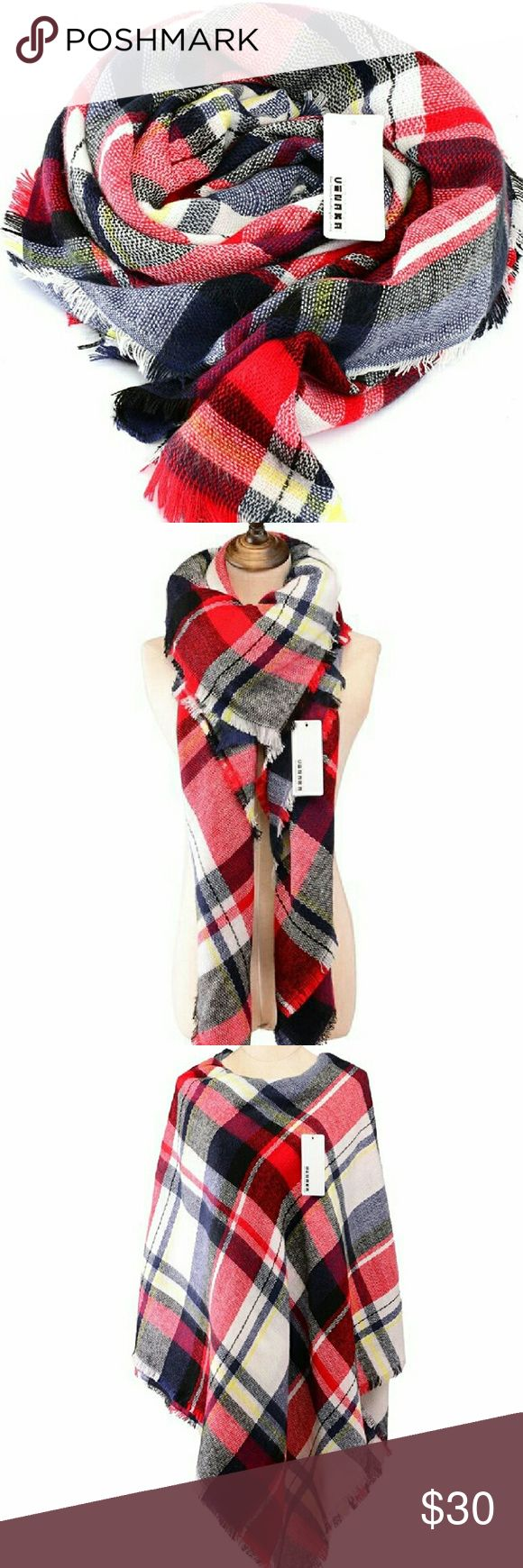 Nwt Oversized Tartan Blanket Scarf Red And Blue Gorgeous Soft And Warm  Acrylic Plaid Scarf