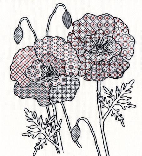 Poppy Blackwork Embroidery - Bothy Threads