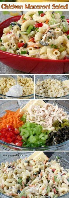 Ensalada de macarrones y pollo