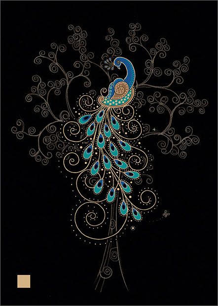 Peacock in a Tree - Bug Art Jewels by Jane Crowther