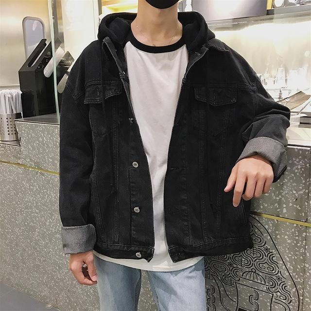 Ledingsen Mens Blue Oversize Denim Jacket Black Hooded Baggy Jeans Jackets Cas Oversized Distressed Denim Jacket Black Denim Jacket Men Jean Jacket Outfits Men
