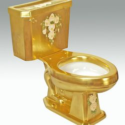 """Hand Painted Toilets by Atlantis - """"Roses d' Gold"""" Painted on AP-3002 white Arena II elongated toilet 16"""" comfort height. This design can be painted on burnished platinum background."""