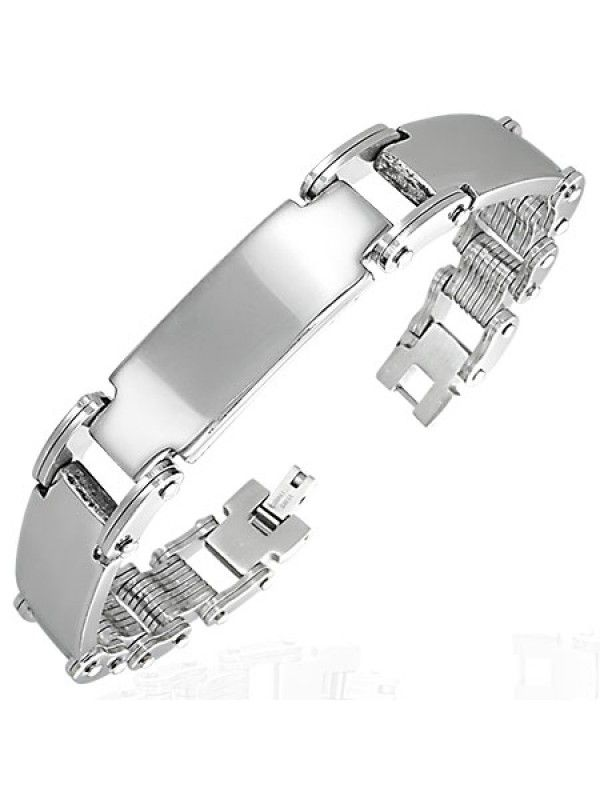 Stainless steel bracelet with and tag that can be engraved - watch strip style bracelet. All stainless steel jewelry is delivered in free shock-proof envelopes offered by BeSpecial.ro - online jewelry and gifts store.