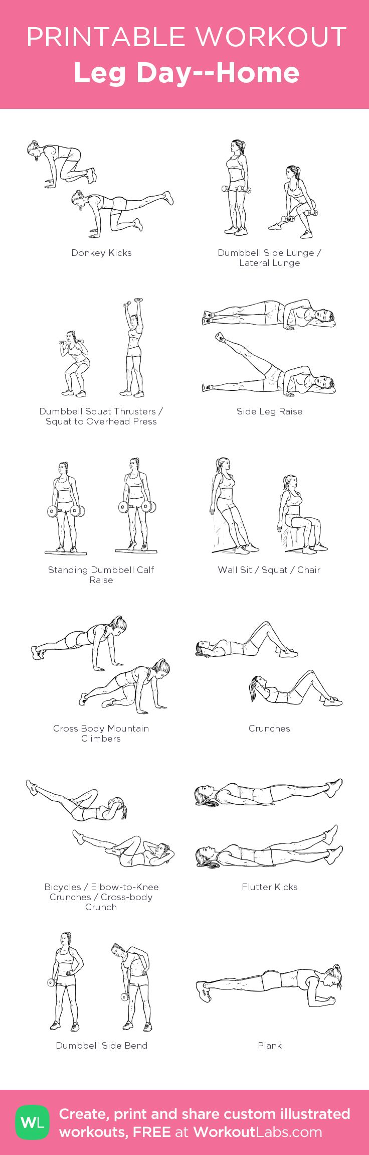 Leg Day--Home: my visual workout created at WorkoutLabs.com • Click through to customize and download as a FREE PDF! #customworkout