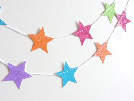 Summer Popsicle Rainbow Glitter Star Paper Garland by ShastaBlue, $7.00