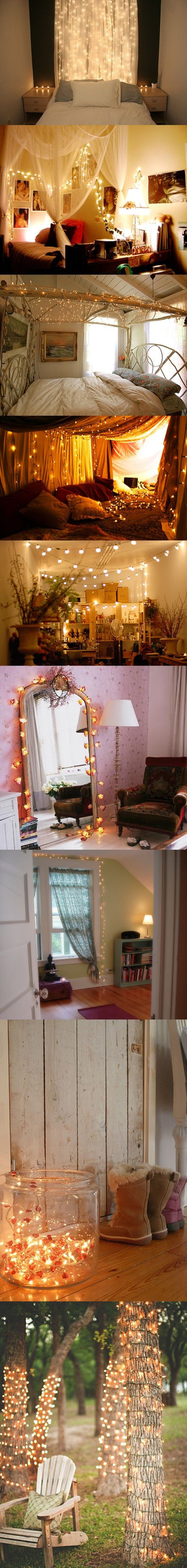 Fairy Lights Decorating Ideas @ DIY Home Design - lots of ideas for using string lights to create atmosphere