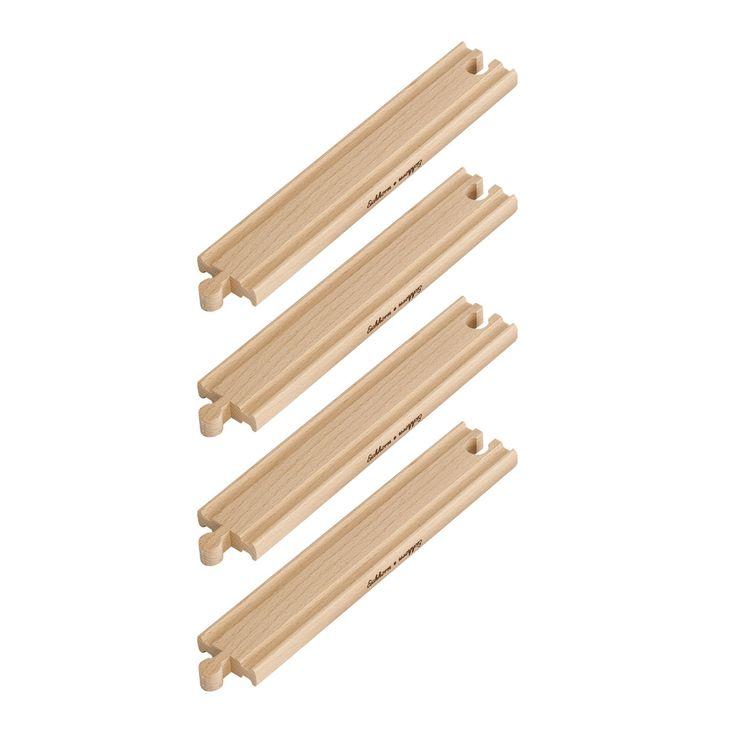 Eichhorn staat bekend om haar prachtig houten speelgoed, zoals complete treinbanen, houten poppenkasten, puzzels, poppenhuizen en veel meer.Het leuke van treinen van Eichhorn is dat de houten rails ook te combineren is met andere merken. Afmeting:lengte 20,5 cmPast op alle Eichhorn treinbanen - Eichhorn Recht Spoor Lang 4 stuks