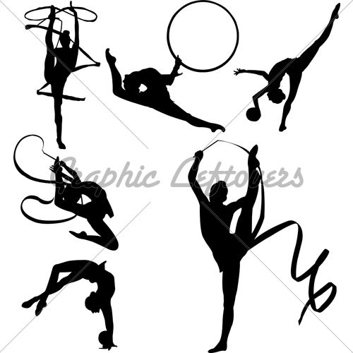 Graphic Silhoutettes of 6 Rhythmic Gymnasts