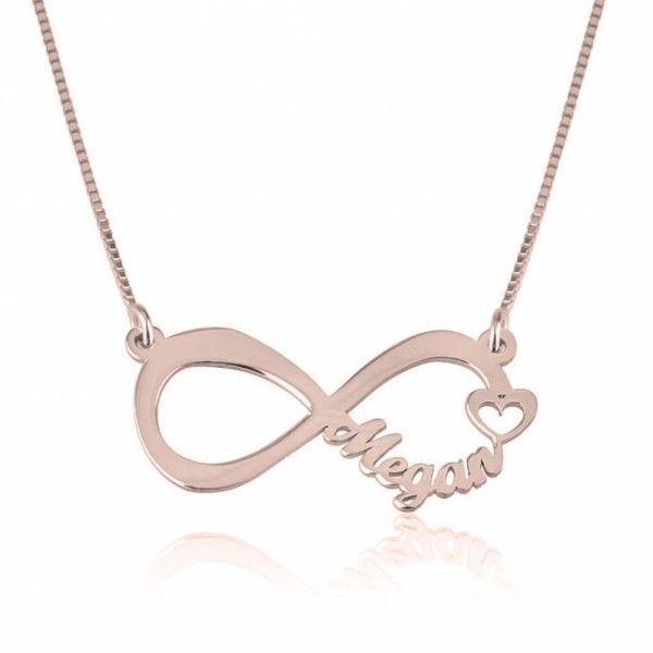 Collar Infinito con Nombre Troquelado en plata chapada en Oro Rosa - Joyas4You - Joyería personalizada - Joyas personalizadas