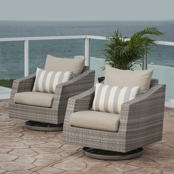 RST Brands Cannes Motion Club Chairs in Slate Grey with Sunbrella cushions and pillows. $1445.