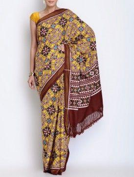 Yellow-Maroon Silk Double Ikat Patan Patola Silk Saree