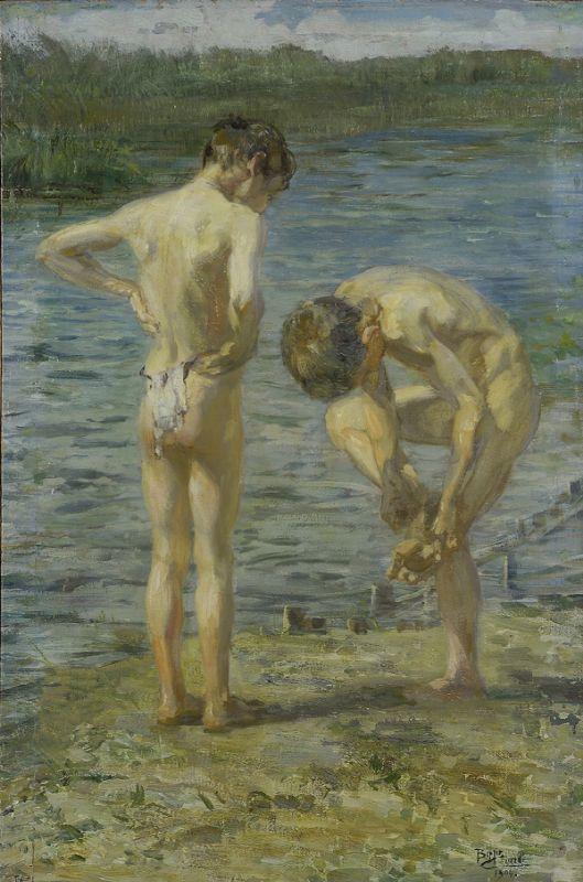 Ciardi Beppe Bambini sul fiume (1904) - Olio su tela