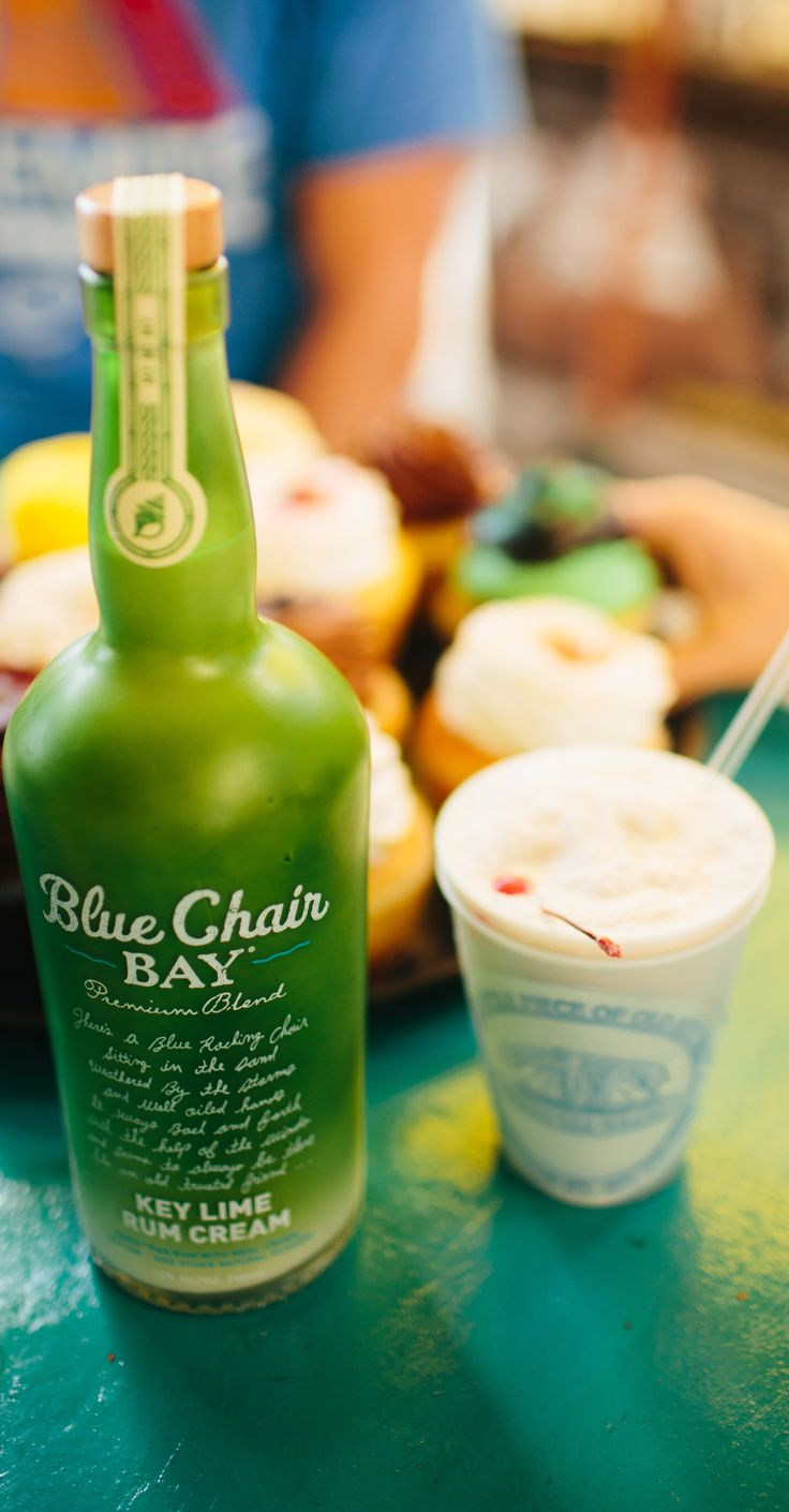 KEY LIME COLADA // 1 oz. Blue Chair Bay Key Lime Rum Cream + .5 oz. Blue Chair Bay Coconut Rum + 1 oz. pineapple juice + 1 oz. orange juice + 1 oz. cream of coconut + 1 cup ice // Stir up all ingredients together in a blender. Add some fruit. Float some Blue Chair Bay White Rum on top.