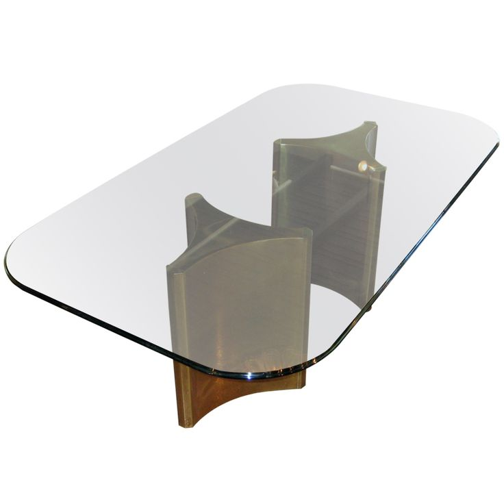 A Mastercraft Brass and Glass Double Pedestal Dining Table C. 1970's