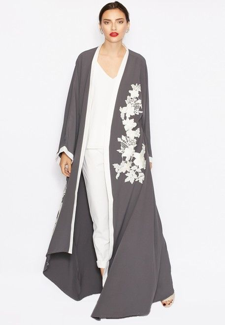 Shop Hayas Closet grey Detailed Floral Motif Bisht for Women in Saudi
