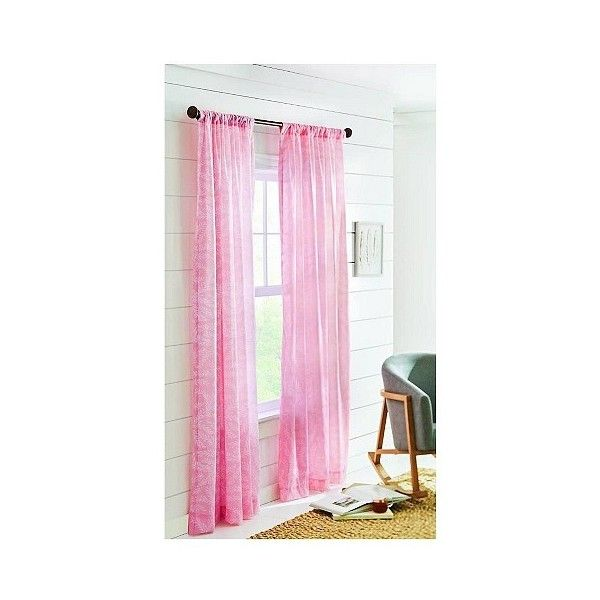 Floral Printed Sheer Curtain Panel Pink ($14) ❤ liked on Polyvore featuring home, home decor, window treatments, curtains, porcelain pink, target window curtains, floral window curtains, floral sheer curtains, pink curtains and pink window curtains