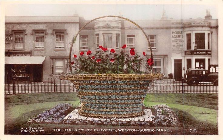 POSTCARD  SOMERSET   WESTON  SUPER  MARE   The  Basket of  Flowers