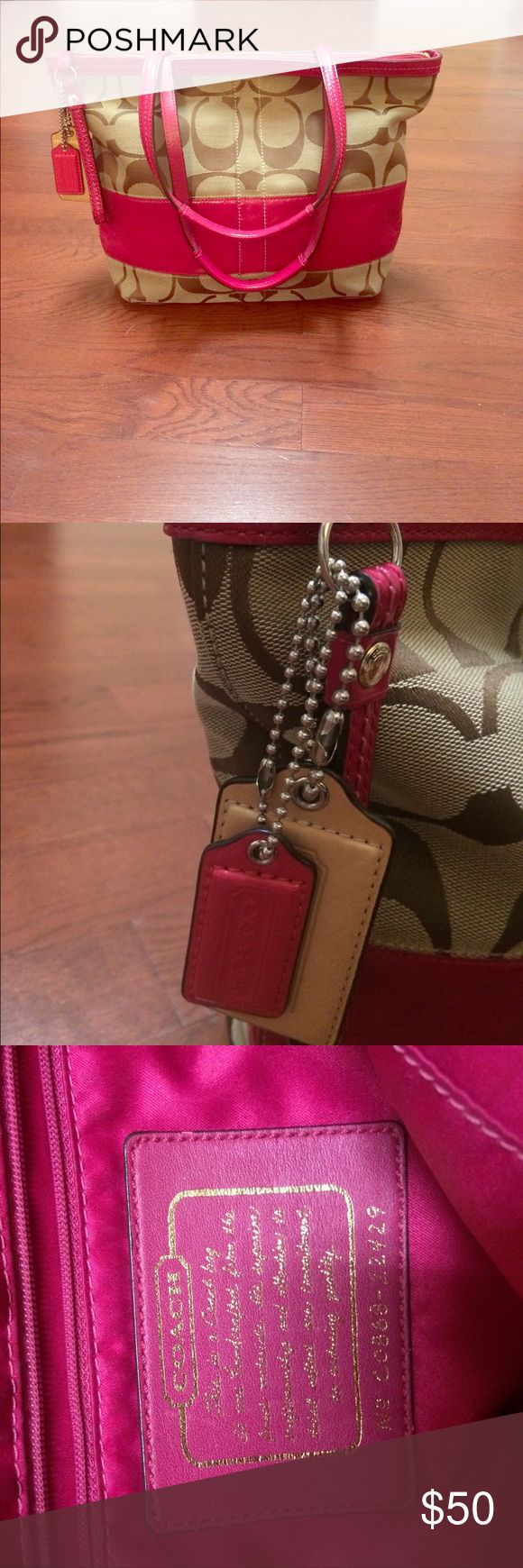 """Coach Purse Excellent condition, worn markings inside on fuchsia silk material where zipper is located (as seen in pictures, but not bad at all)  purse size: 13.5"""" wide, 9.5"""" length - more of a shoulder bag, does not include additional straps Coach Bags Shoulder Bags"""