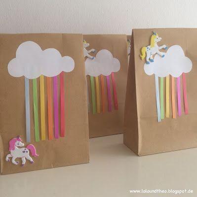 Einhorngeburtstag Regenbogengeburtstag Mitgebsel Einhorn Regenbogen Unicorn Rainbow Mitgebseltütchen www.loloundtheo.blogspot.de
