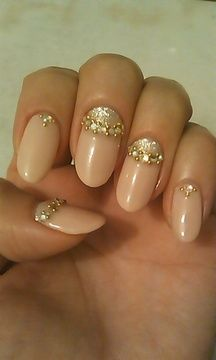 Gold and blush pink nails