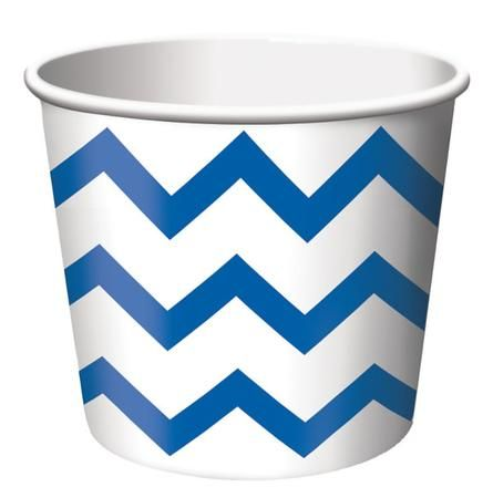 True Blue Chevron Striped paper treat cups are the ideal size for serving snacks, ice cream, candy or filled with small party favors. Our Chevron striped paper treat cups are disposable and feature the popular chevron stripe pattern in blue on a white background. The paper treat cups are constructed from medium weight card-stock and will brighten up any spring event, birthday party, Baby shower or any other special occasion. Treat cups measure 2.5 Inches x 3.5 Inches and package contains 6…