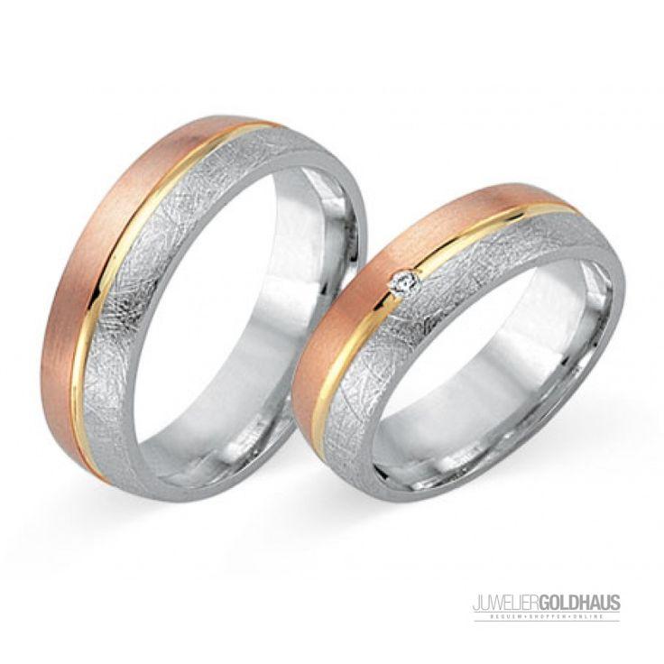 Trauringe Eheringe Gold Dreifarbig Tri-Color - FIDES8054