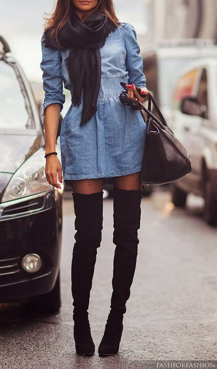 Short black dress with denim dress as trench over it, thigh high boots