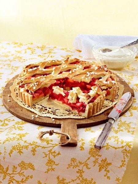 Rheinischer Riemchenkuchen mit Rhabarber & Apfel