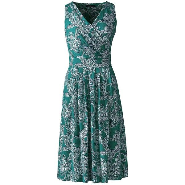 Lands' End Women's Plus Size Fit and Flare Dress (€61) ❤ liked on Polyvore featuring plus size women's fashion, plus size clothing, plus size dresses, dresses, green, petite cocktail dress, blue summer dress, summer dresses, holiday dresses and petite dresses