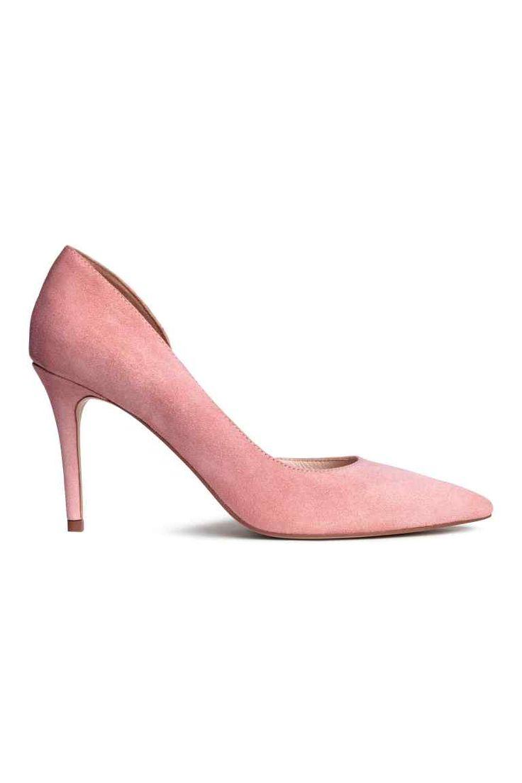 Замшевые туфли-лодочки - Розовая пудра - Женщины | H&M RU 1
